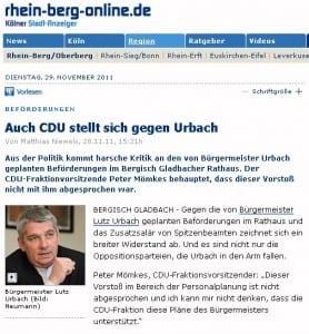 CDU wendet sich gegen Bürgermeister Lutz Urbach