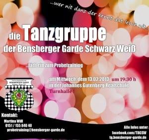 Tanzgruppe Bensb. Garde SW Probetraining 13.02.13