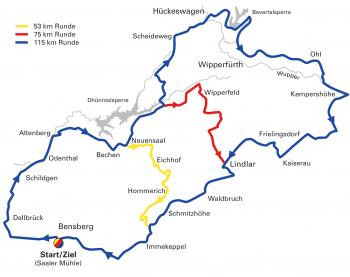 """Streckenplan Radtourenfahrt """"Rund um Schloss Bensberg"""""""