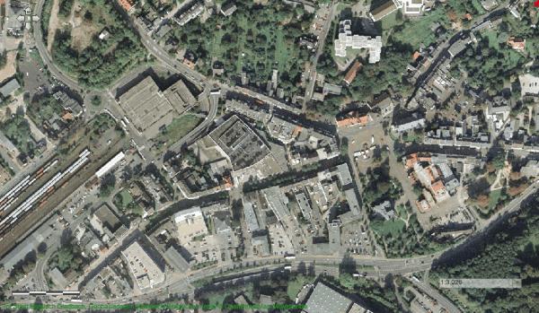 Die Innenstadt 1998 - unten links der Drischer Kreisel