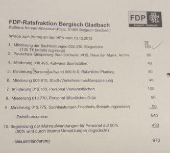 Die Sparliste der FDP