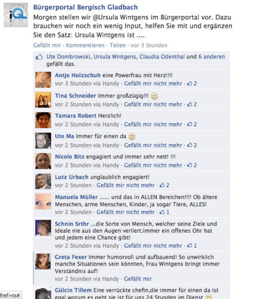 Facebook-Kommentare über Ursula Wintgens