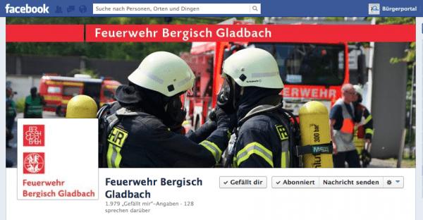 Facebookseite der Feuerwehr GL
