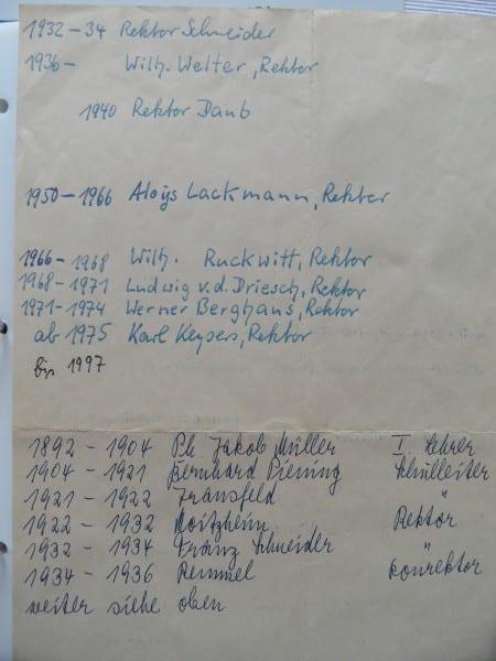Liste der Rektoren - aus dem Schularchiv