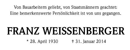 Todesanzeige Franz Weissenberger
