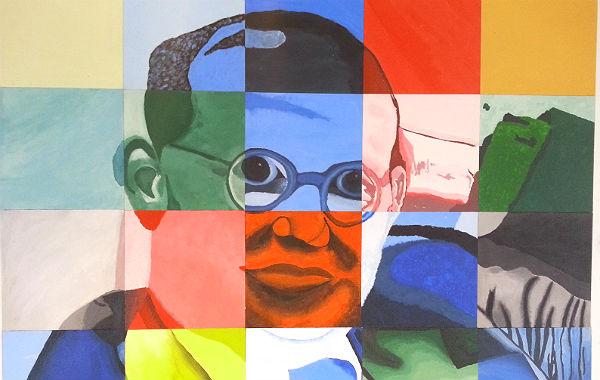 Von Schülern gestaltetes Wandbild von Dietrich Bonhoeffer