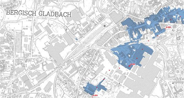 Ausschnitt der Hochwasserkarte: Stadtmitte mit der Strunde