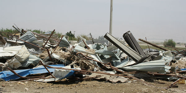 Zerstörtes Dorf bei Jiftlik im Jordantal