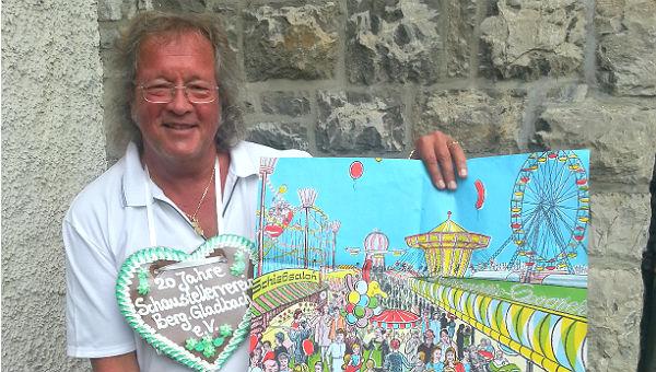 Burkhardt Unrau mit eine handgefertigten Plakat von 1995