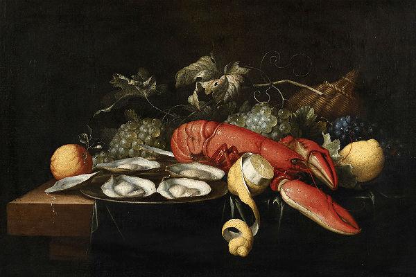 Alexander Coosemans (1627 – 1689 Antwerpen), Stillleben mit Hummer, Austern und Früchten © Kunsthaus Lempertz, Photographie Sasa Fuis, Köln