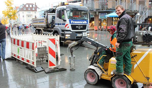 Die Baustelle gegenüber der Einmündung der Grünen Ladenstraße
