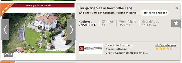 Aktuelle Immobilienanzeige für Villa in Bergisch Gladbach. Foto: Screenshot