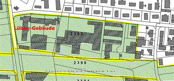 Der Bebauungsplan 2398. In Nord-Süd-Richtung die Senefelder Straße, in Ost-West-Richtung die Schweidtweiler Straße