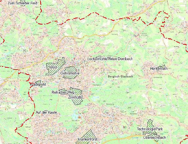 Die untersuchten Gewerbegebiete. Foto: Screenshot