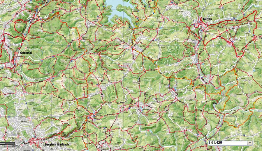 Das Geoportal des Rheinisch-Bergischen Kreises zeigt alle Wanderrouten