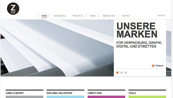 Screenshot der neuen Zanders Website