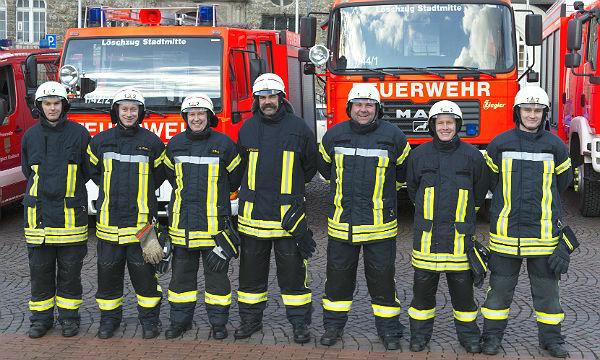 Führungskräfte des Löschzuges Stadtmitte: Ralf Wacker, Dirk Pütz, Frank Haag, Udo Gottschling, Elmar Schneiders, Sascha Watzelhahn, Mathias Bernhauser
