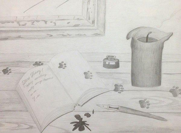 Bleistiftzeichnung zum Thema Spuren