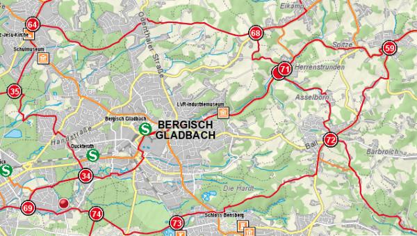 Ausschnitt aus der Übersichtskarte der RadRegionRheinland. Ein Klick auf das Bild führt zur Gesamtkarte