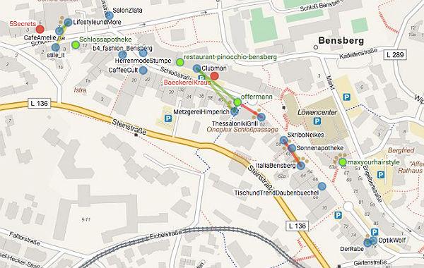 Karte der Geschäfte in Bensberg, die sich an dem Projekt Freifunk beteiligen