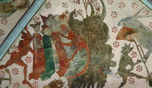 Wandgemälde in der Kirche in Wiedennest