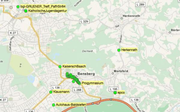 Übersicht der Freifunk-Zugänge in Bergisch Gladbach. Ein Klick auf das Bild führt zur Karte.
