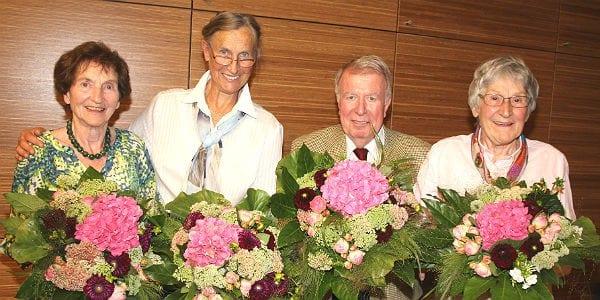 Die ausgeschiedenen Vorstandsmitglieder: Lilo Ritzerfeld, Renate Reinhardt, Otfried Nieder und Gisela Rittmeier (v.l.). Foto: Alfred Müller