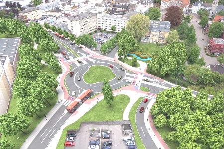 So stellen sich die Planer den künftigen Kreisverkehr vor. Foto: Stadtverwaltung