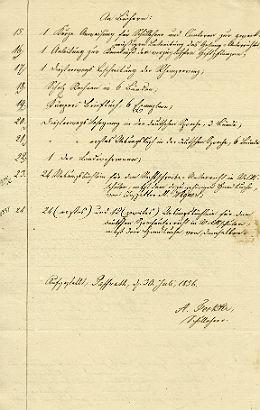 Ausschnitt: Ausstattung und Lehrmittel in der Schule Paffrath, 30. Juli 1836
