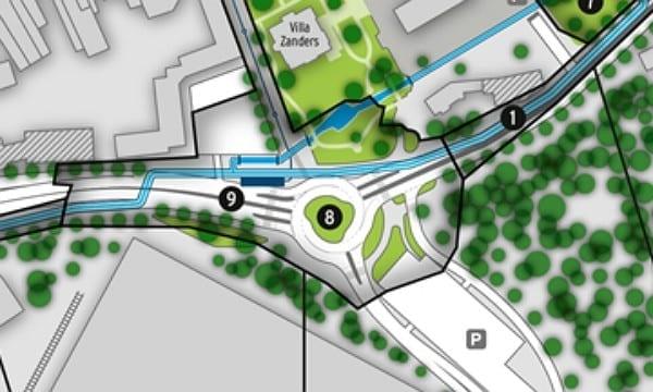 So soll der Kreisverkehr Schnabelsmühle nach Fertigstellung aussehen. Der Mittelpunkt ist gegenüber der jetzigen Kreuzung leicht nach links verlegt.