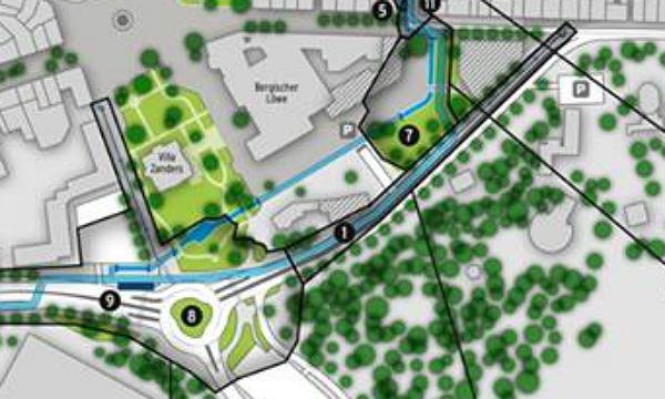 """Die Planung für """"Strunde hoch vier"""" in der Innenstadt. Von der Stadtbücherei zum Zanders-Gelände wird ein Wasserkanal verlegt, an der Schnabelsmühle entsteht ein Kreisverkehr"""
