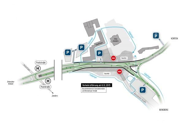 Die Verkehrsführung an der Schnabelsmühle während der aktuellen Bauphase. Der gesamt Verkehr wird auf den rechten Bypass verlagert, links vor dem Zanders-Gelände wird gebaut.