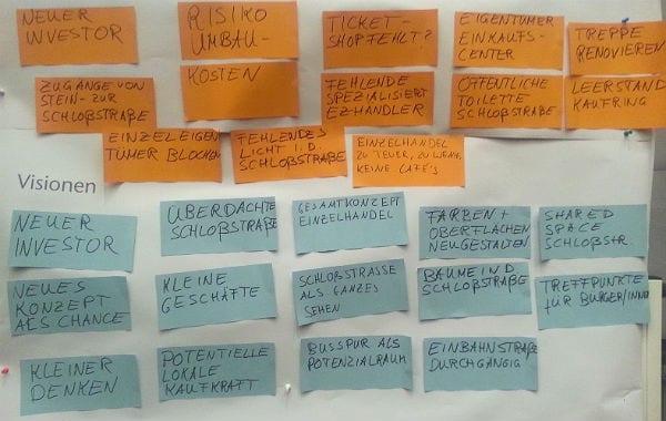 Das fällt den Bürger zu Bensbergs Schwächen (orange) und Bensbergs Potenzial (blau) ein
