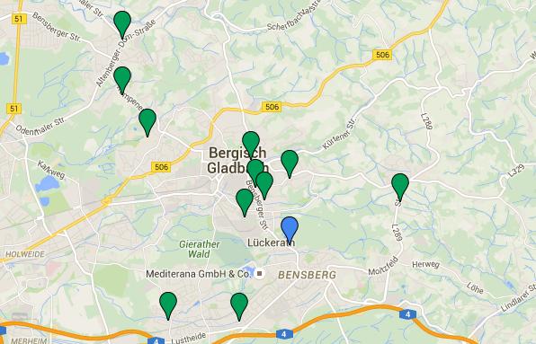 Gemeinschaftsunterkünfte in Bergisch Gladbach. Details in der Tabelle ganz unten