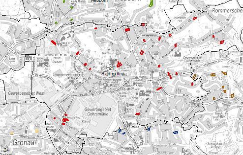 Baulücken in der Innenstadt. Quelle: Geoportal BGL