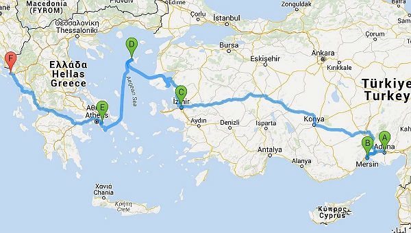 Karte Adana Igoumenitsa 600