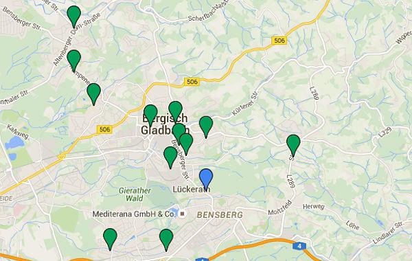 Größere Flüchtlingsunterkünfte im Stadtgebiet von Bergisch Gladbach. Eine genaue Aufsstellung finden Sie ganz unten