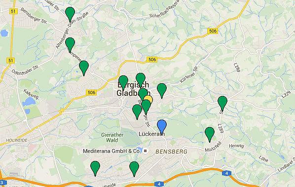 Große Unterkünfte in Bergisch Gladbach. Zudem wurden rund 100 Wohnungen gemietet.