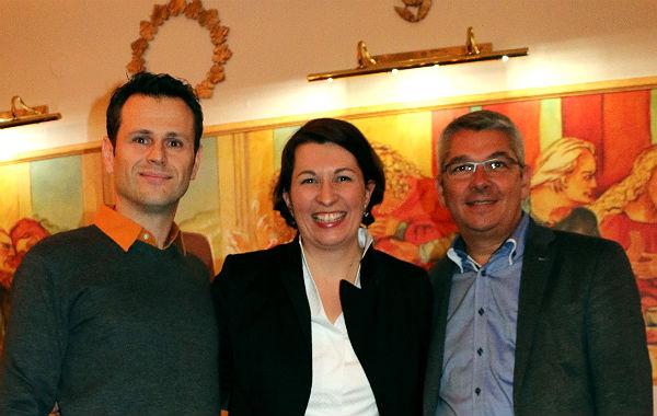 Gastronom Evangelos Michail, Romana Echensperger, Bürgermeister Lutz Urbach