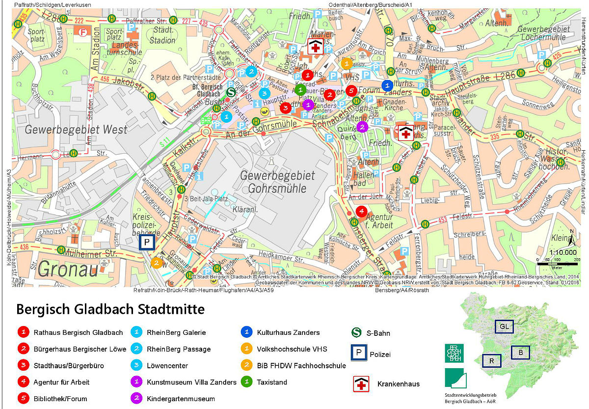 Der neue Zentrumsplan des Stadtentwicklungsbetriebs Bergisch Gladbach für Gladbach, Refrath, Bensberg