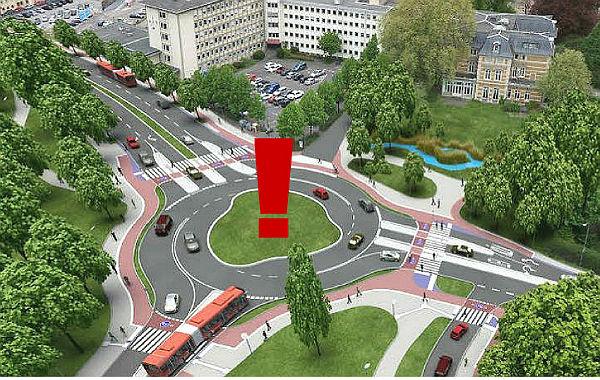 Der künftige Kreisverkehr Schnabelsmühle in einer Simulation. Die Gestaltung des Innenraums soll ein Wettbewerb entscheiden.