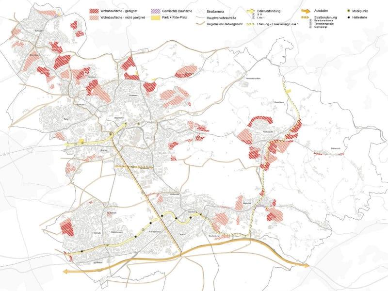 Diese potenziellen Wohnflächen hat die Verwaltung geprüft: hellrot schraffierte wurden verworfen, dunkelrote Flächen als geeignet befunden