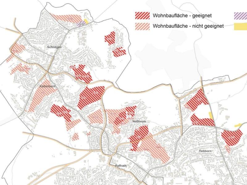Im Nordwesten des Stadtgebietes sind einige Flächen als geeing