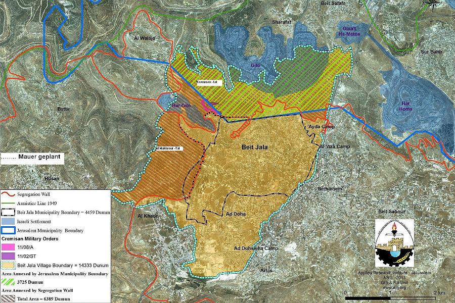 Die Siedlung Gilo (Mitte oben) breitet sch auf dem Territorium von Beit Jala aus