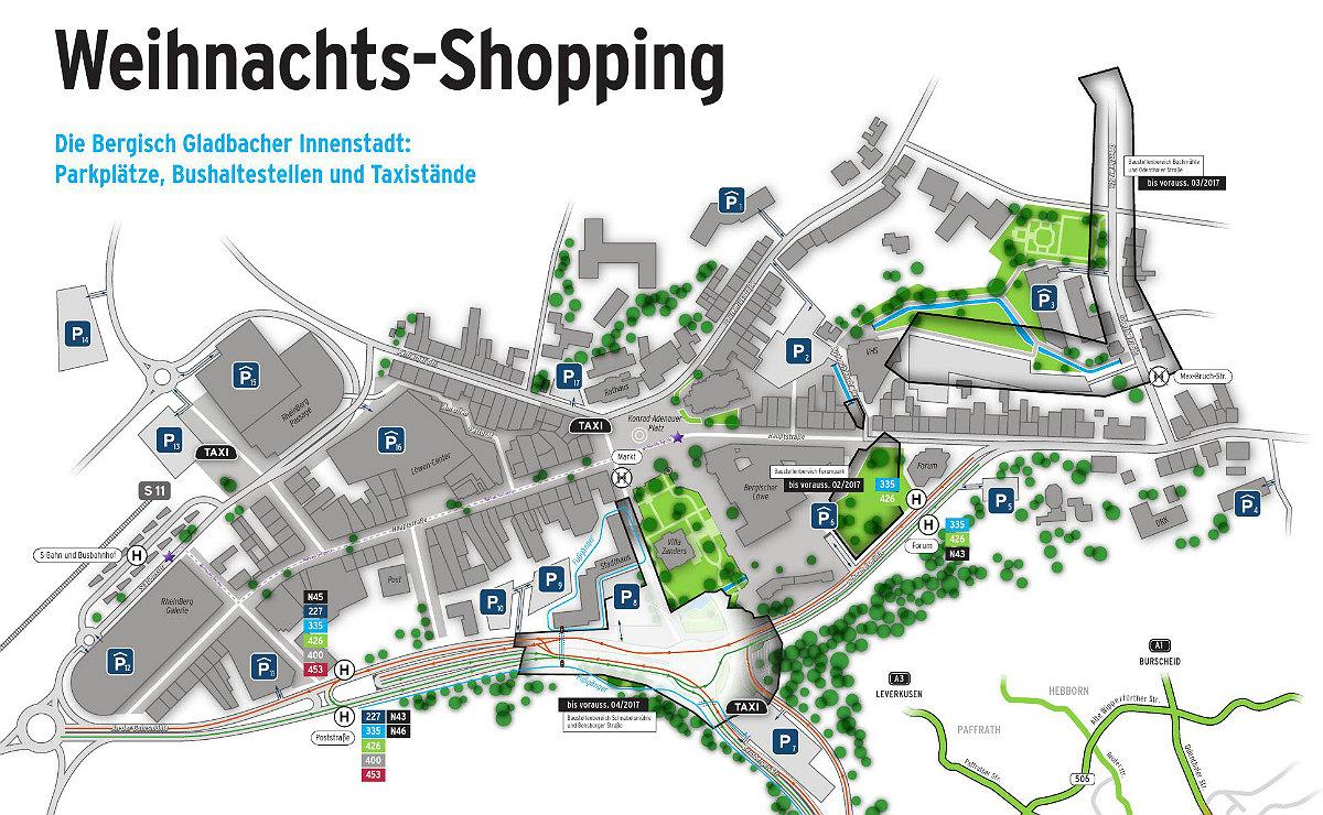Wie man in die City kommt, wo man parken kann. Ein Klick vergrößert die Karte