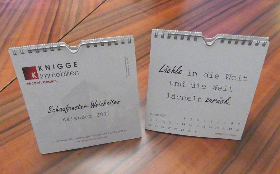 Neuer Kalender Mit Schaufenster Weisheiten
