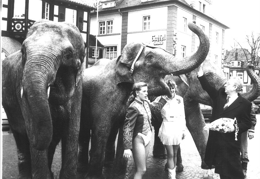 Zirkus Renz überreicht mit Elefanten und Dompteurinnen 1988 Eintrittskarten für bedürftige Kinder an Bürgermeister Franz Heinrich Krey. Foto: Alber Günther/Stadtarchiv BGL