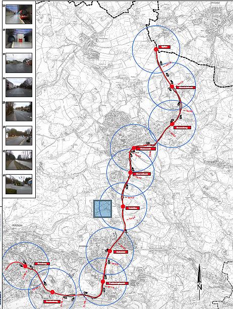 Ausschnitt einer Karte, die eine mögliche Trasse der Linie 1 bis Kürten-Spitze skizziert. Die ganze Karte dokumentieren wir unten
