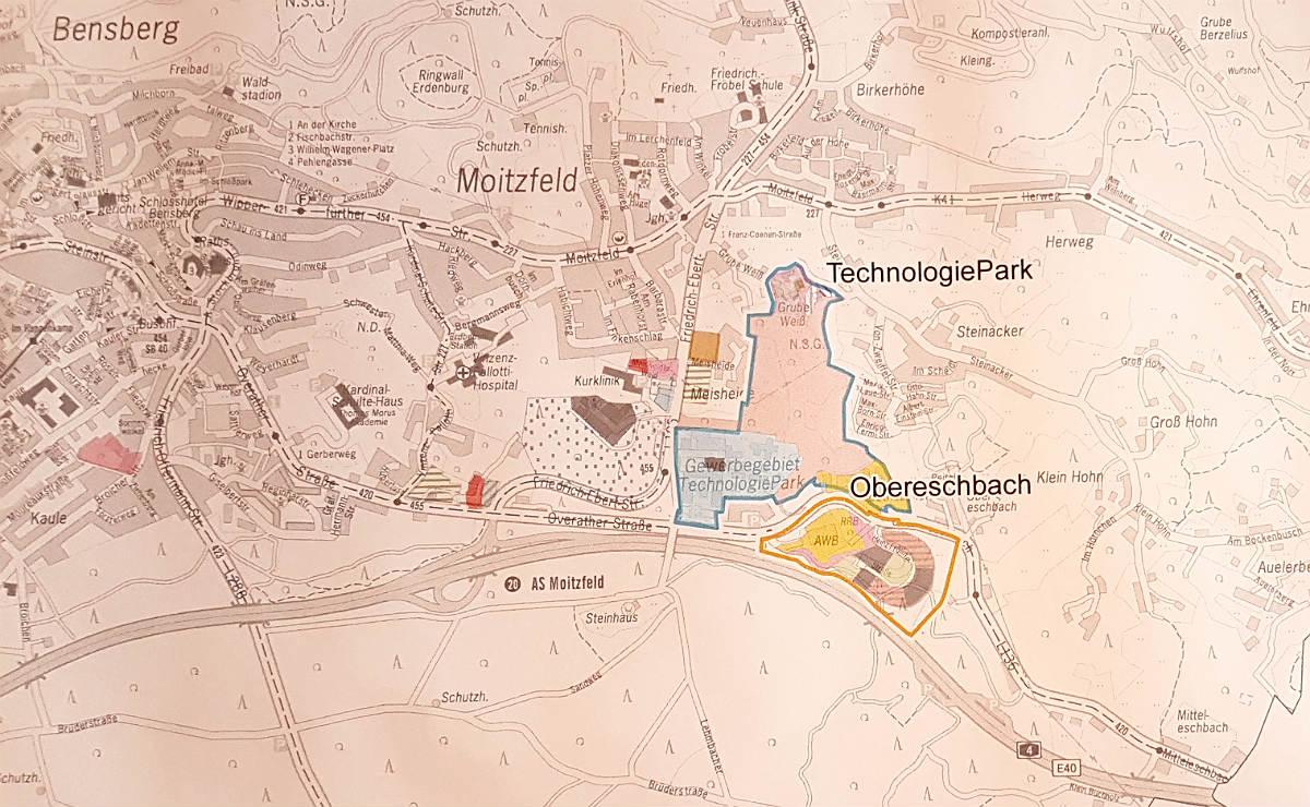 Das neue Gewerbegebiet Obereschbach liegt zwischen dem Technologiepark und der A4