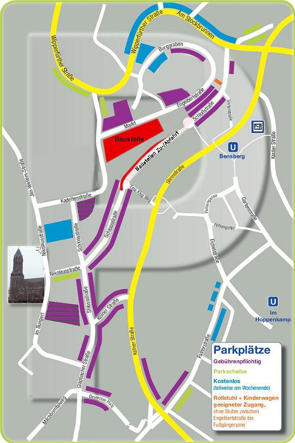 Parken in der Bensberger City - auch während der Bauarbeiten für die Marktgalerie